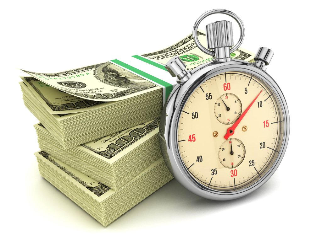 stopwatch in front of cash for fast title loans