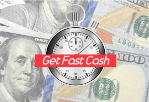 Get Fast Cash in front of a stopwatch in front of 100 dollar bills