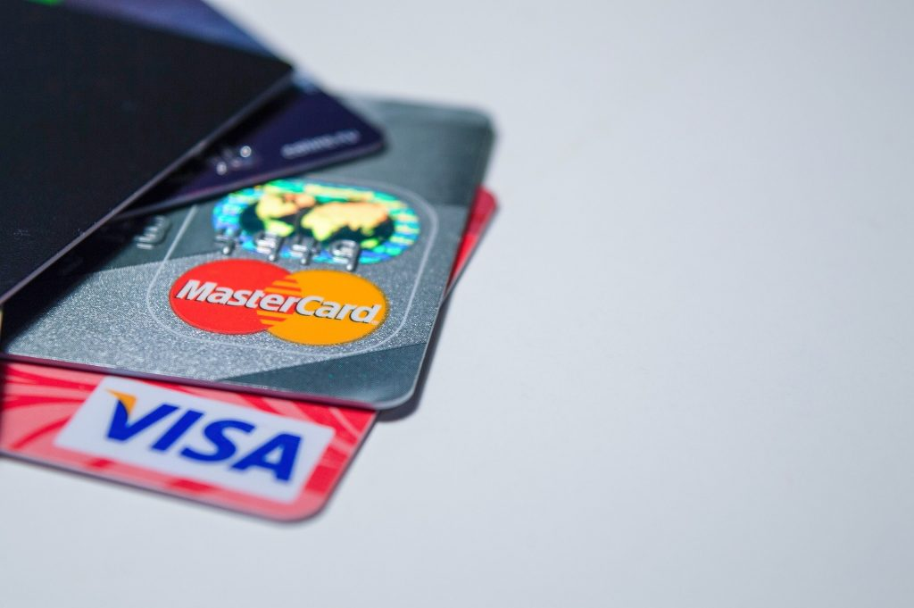 credit cards on grey background